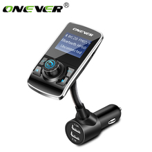 Onever Bluetooth FM Transmitter Wireless Audio Modulator Handsfree Car Kit Car MP3 Player with TF Slot AUX IN/OUT MP3/WMA/FLAC(China)