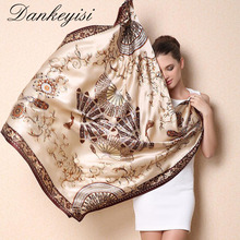 DANKEYISI Women Mulberry Silk Beach Cover-ups Big Square Scarf Spring Autumn Female Genuine Silk Scarves Printed Summer Shawls(China)