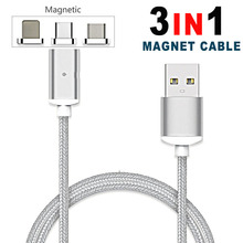 Buy 3 IN 1 Nylon Magnetic Micro USB Cable iPhone 5 6s 7 8 Plus 3in1 Charger Samsung S6 S7 S8 Android Type-C Magnet Charging for $2.08 in AliExpress store