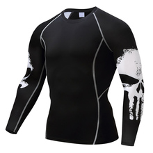 Punisher 3D Prints Compression Shirts Bodybuilding Long Sleeves T Shirt xxxl MMA Crossfit Exercise Workout Fitness skull t shirt