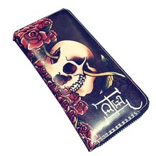 Unique Men Wallet Purse Leather Hip Hop Punk Skull Rose Famous Brand Designer 2017 Men Wallets Purses Fashion Vintage Hot Sale(China)