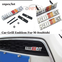Free Shipping 10pcs/lot Metal Car grill emblem Front Bonnet Emblem Badge Hood For Mitsubishi For Rallitart logo Auto accessories(China)