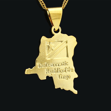 3.6cm*2.3cm Democratic Republic of the Congo Map Gold Color DRC Pendant Necklace Jewelry Women Girls Gifts