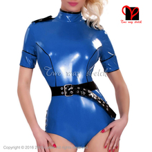 Sexy Latex Swimsuit Short-Sleeves Leotard Body-Suit Rubber Black XXXL Blue with Zip-At-Back