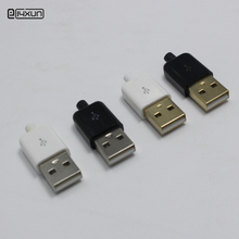 10pcs DIY USB 5Pin Welding Type Male Plug Connector 3 in 1 Nickel-plated Gold Plated Adaptor for Apple iphone 4