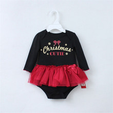 Xmas Newborns My First Christmas Black Bodysuit Red Lace Tulle Pettiskirt Baby Dress Newborn Baby Tutu Skirts NB-12M(China)