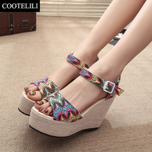 COOTELILI 35-39 Fashion Brand Sandals Bohemian Mixed Colors Shoes Women Fish Mouth High Heel Ladies Sandals Wedges Cool Boots
