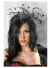 Free Shipping Black Ladies Hair Clip with Net Yarn Burlesque Punk Mini Top Hat - Black(China)