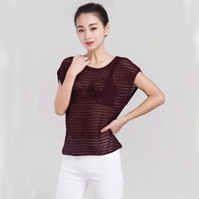 Summer Female Sexy Hollow out Vest Jumper Knitted Sweater Women Fashion Solid Color Sleeveless Pullover Knitwear Jersey Tops(China)