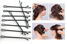 100 Pcs/Pack Simple Hair Clips Black Bobby Pins Curly Wavy Grips Hairstyle Barrette Hairpin Hair Hairdressing Styling DIY Tools