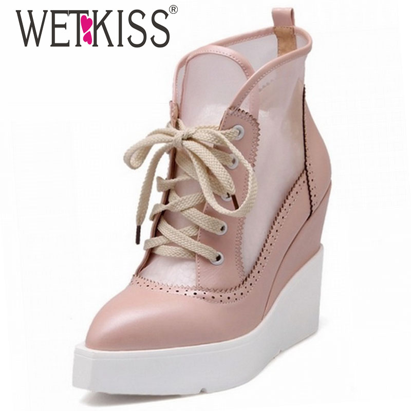 WETKISS High Wedge boots Lace Up Summer Boots Vintage Cut-out Mesh Platform Shoes Elegant Thick Sole Pointed Toe Summer Shoes<br><br>Aliexpress