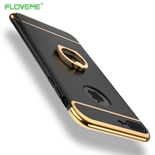 FLOVEME Case For iPhone 7 6s 6 Plus Luxury Metal Ring Holder Combo Phone Cover For iPhone7 Plus Hard Capa For Samsung Galaxy S8
