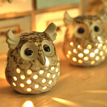 Hot Sell Retro Simple European Style Romantic Decoration Ceramic Candlestick Owl Candle Holder(China)