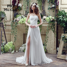 Beach 2017 New Wedding Dresses with Crystals Pin Vestido De Noiva Sleeveless Lace Up Back Chiffon Wedding Dress Bridal Gown