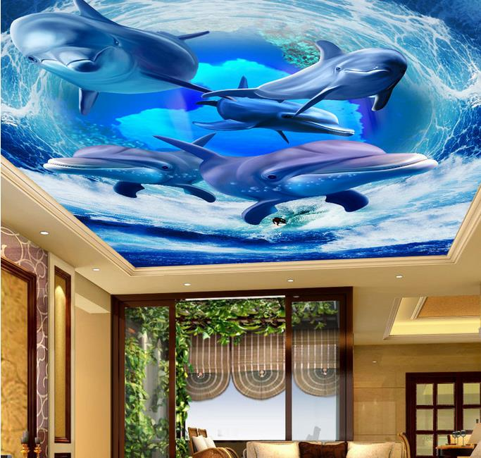 custom 3d ceiling photo Wave dolphin 3d ceiling murals wallpaper home decor wallpaper on the ceiling papel de parede<br>