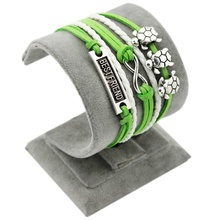 tibetan silver best friend Infinity 3 strings single turtle charms green velvet white round leather bangle bracelet strings & th(China)