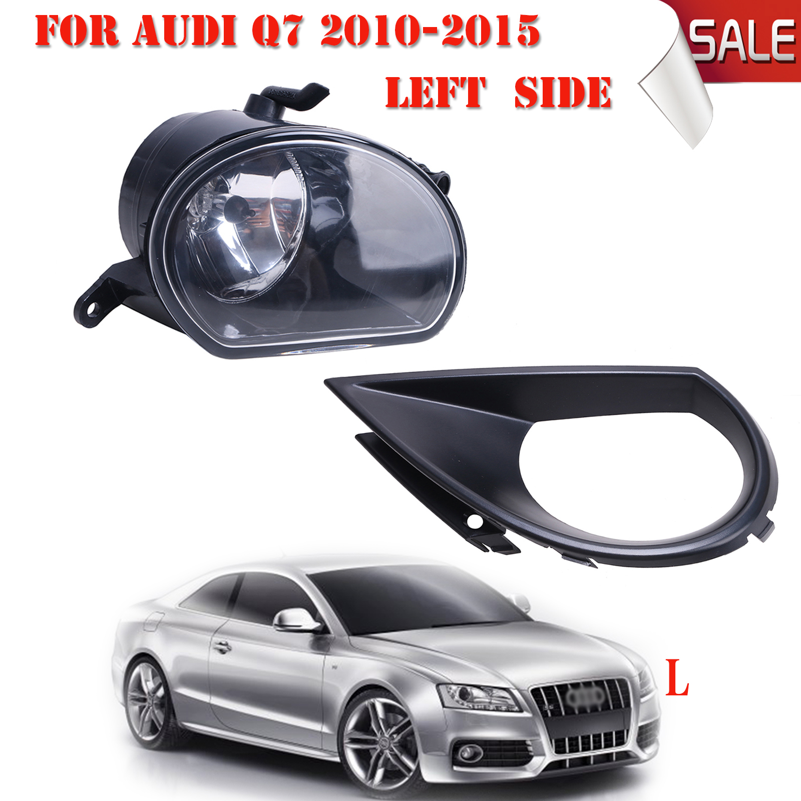 Left Side Front Lower Grill Grille Fog Light Lamp For Audi Q7 Standard Bumper 2010 2011 2012 2013 20142015 with Bulb H11 #P330<br><br>Aliexpress