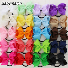 Babymatch 40pcs/lot Girls Grosgrain Ribbon Hair Bows Hair Accessories Ponytail Holder Head Rope Headband Free Shipping(China)