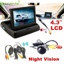 Auto 4.3 Car Rear View Monitor Wireless Car Backup Camera Parking System Kit Dec07