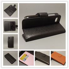 For blackberry Q5 Luxury Litchi leather case cover stand function for with 2 Card Holder and pouch slot free shipping