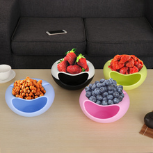 1PC New Multifunctional Plastic Fruit Dish Snacks Nut Melon Seeds Bowl Double Layer Candy Plate Peels Shells Storage Home Tools