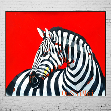 Hot Hand Painted Red Paintings Cheap Abstract Dog Animals Picture Modern Zebra Painting On Canvas Pictures Wall Art Oil Painting
