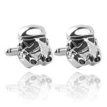 Mens Fashion Cufflinks Metal Silver Color Plated Star Wars White knight Design French Cuff Button Jewelry Wedding Gift(China)