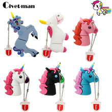 Hot Sale Cartoon Cute Unicorn USB Flash Drive Pen Drive 8GB 16GB 32GB Black Horse USB Stick External Memory Storage Pen Drive