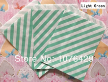 50 Pcs/2 Pack Light Green Diagonal Striped Treat Craft Bags Favor Food Paper Bags Party Wedding Birthday Decoration Color 11