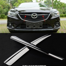 Car Styling For Mazda 6 M6 Atenza 2013 2014 2015 2016 ABS Chrome Front Up Center Grilles Racing Grills Decorative Strips 2Pcs