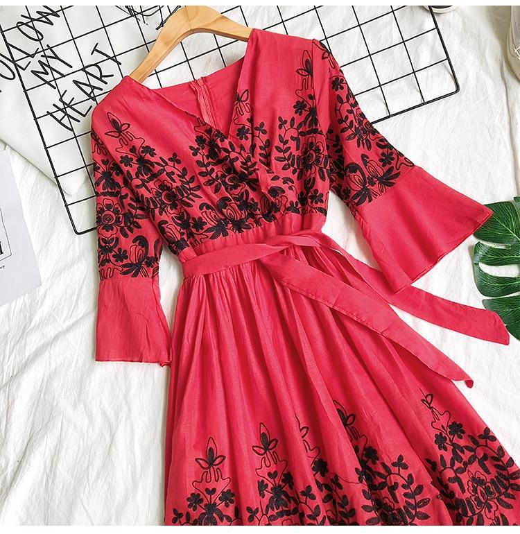 2019 Spring Summer V-neck Embroidery Dress Flare Sleeves Bohemian Dress Belted Ethnic Loose Vintage Dress 64