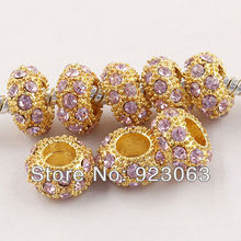 100pcs Pink Rhinestone Gold Color Alloy Rondelle Spacer Big Hole Beads Fit European Bracelet ,Crystal Charms For Making Jewelry