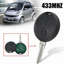3 Buttons Car Remote Key Fob Case Shell Chip 433Mhz Mercedes/Benz Smart City Passion Pulse Roadster ForTwo 2002 2003