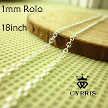 "2017 Top Quality Rolo CHAINS Bulk 18"" 1mm silver  Thin Rolo Chain  Lobster Clasp 50 pcs/lot Jewelry Findings Wholesale"