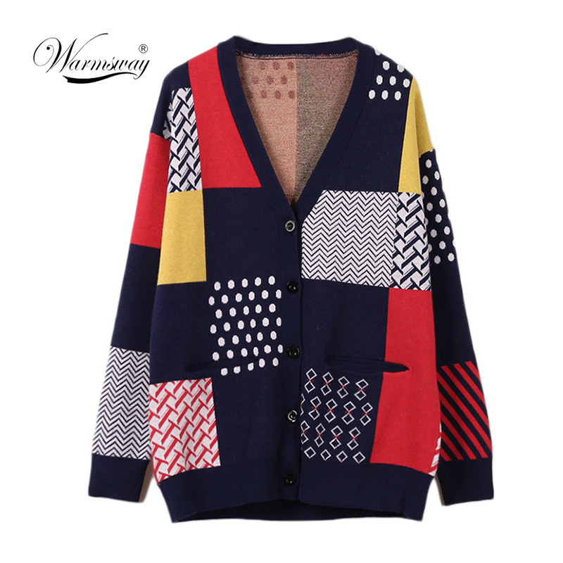2019 Luxury Designer Brand Spring Knitted Patchwork Cardigans Women Casual Contrast Color Pocket Loose Sweater Autumn C-092