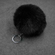 Fashion fur key chain keys for lovers 8 CM many colors fur ball keychain jewelry cubre llaves Fake fur pom pom keychain(China)
