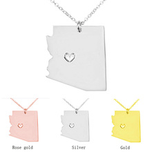 SUTEYI Classic Design Arizona State Pendant Necklace Stainless Steel USA Map Necklaces Collar Jewelry Gift For Women(China)