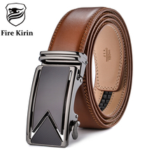 FIRE KIRIN Men Belt 2016 Cowhide Genuine Leather Belts For Men Luxury Automatic Buckle Belts Brown Black Cinturones Hombre B55(China)