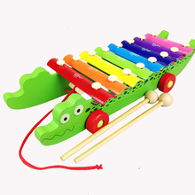 Rainbow Colorful Wooden Musical Instrument Crocodile Knock Piano Knock Tables Music Toys For Kids Children Toddler Learning