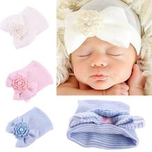 Cute Flower Infant Baby Cap Cotton Hat for Newborns Products for Children Baby Born Knitted Hat for The Girl Headdresses For Boy(China)