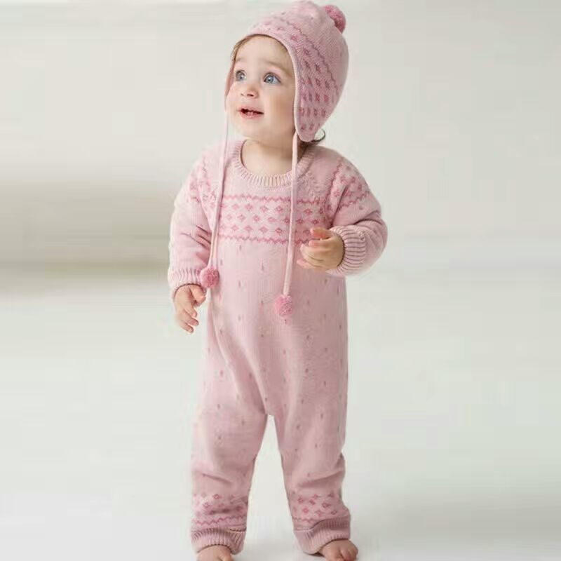 Auro Mesa Winter Baby Girls Knitted Clothes Thick Warm Baby Pink Romper, Hat Newborn baby Jumpsuits<br><br>Aliexpress