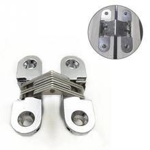 2Pcs Invisible Concealed Cross Door Hinge Zinc Alloy Hidden Hinges With Screw For Folding Door 35*45*18mm
