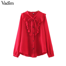 Vadim women sweet ruffles V neck chiffon shirt  bow tie long sleeve red white blouses ladies streetwear tops blusas LT1832