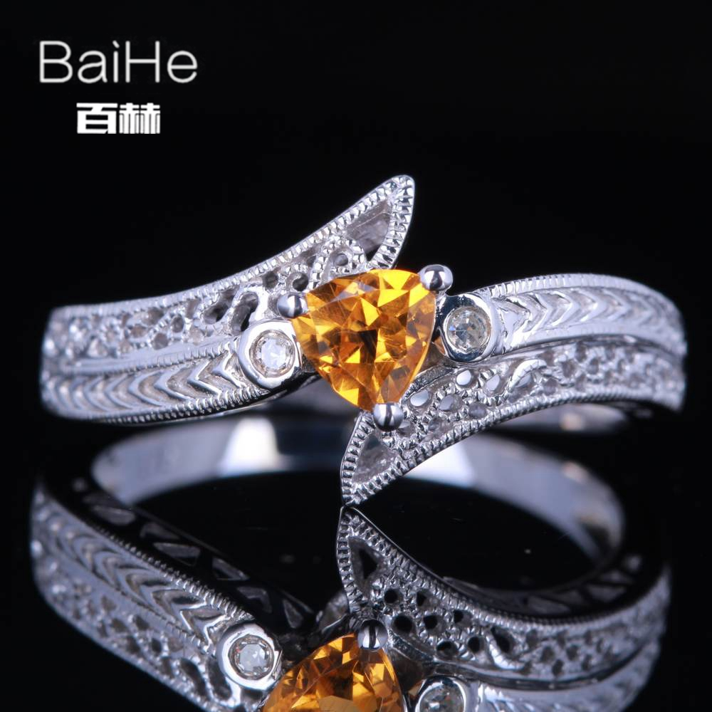 BAIHE Sterling Silver 925 0.19ct Certified Flawless Trillion 100% Genuine Citrine Wedding Women Vintage Fine Jewelry unique Ring