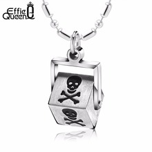 Effie Queen New Arrival High Quality Stainless Steel Pendants Necklaces Square Pendant with Poison logo Men's Punk Jewelry IN18