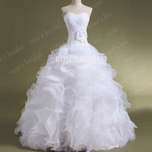 Real Sample 2016 Wedding Ball Gown Victorian Organza Cheap White Bridal Gowns With Flower Vetstido De Noia Com Manga Longa