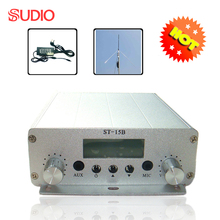 1 set 15W FM broadcast transmitter stereo PLL FM radio station 87MHz-108MHz + power supply + GP antenna wholesales(China)