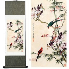 Silk ink Bamboo magnolia watercolor flower and bird decorative feng shui Traditional Chinese painting scroll Wall Picture(China)