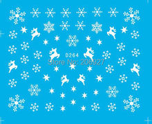 2PCS D264 Snowflake Nail Art Water Decal Nail Water Transfer Sticker