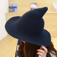 metting joura Along the sheep wool cap knitting fisherman hat qiu dong Female fashion witch pointed basin hat accessories